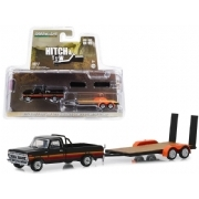 Miniatura Greenlight Ford F-100 1977 & Trailer  Hitch Tow 1:64